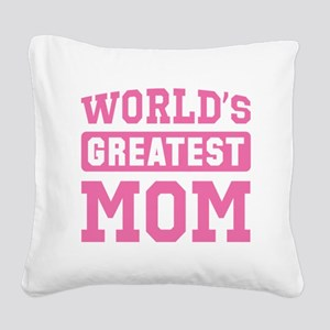 [Pink] World's Greatest Mom Square Canvas Pillow